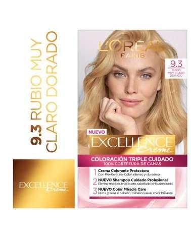 Tintura Permanente Excellence Creme De L'Oréal París 93 Rubio Muy Claro Dorado X 47 Gr  - 1