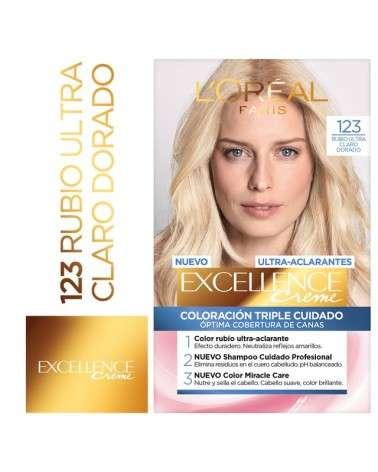 Tintura Permanente Excellence Creme De L'Oréal París 123 Rubio Ultra Claro Dorado X 47 Gr  - 1