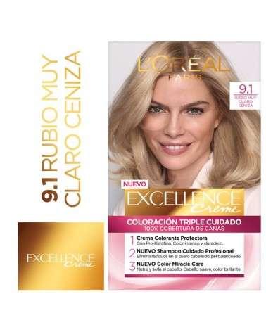 Tintura permanente Excellence Creme de L'Oréal París 91 rubio muy claro ceniza x 47 GR  - 1