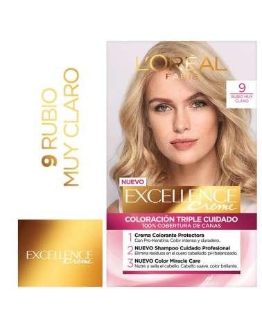 Tintura permanente Excellence Creme de L'Oréal París 9 rubio muy claro x 47 GR  - 1