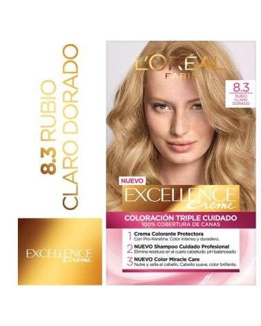 Tintura permanente Excellence Creme de L'Oréal París 83 rubio claro dorado x 47 GR  - 1