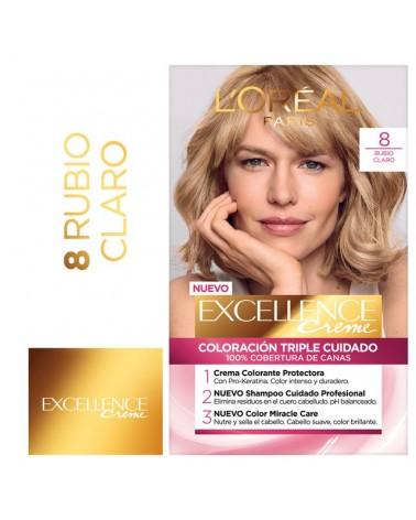 Tintura permanente Excellence Creme de L'Oréal París 8 rubio claro x 47 GR  - 1