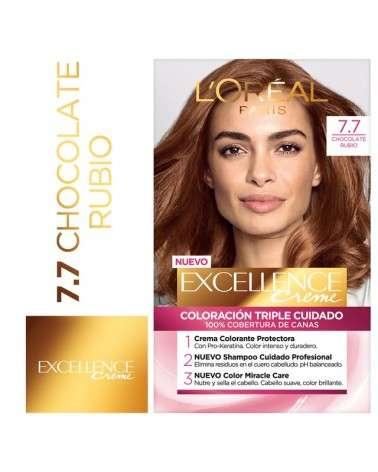 Tintura permanente Excellence Creme de L'Oréal París 77 chocolate rubio x 47 GR  - 1