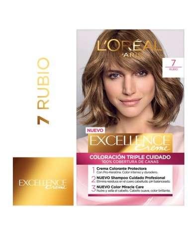 Tintura Permanente Excellence Creme De L'Oréal París 7 Rubio X 47 Gr  - 1