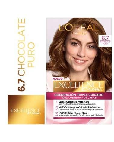 Tintura permanente Excellence Creme de L'Oréal París 67 chocolate puro x 47 GR  - 1
