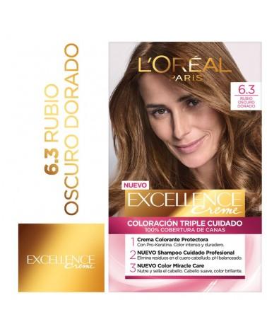 Tintura permanente Excellence Creme de L'Oréal París 63 rubio oscuro dorado x 47 GR  - 1