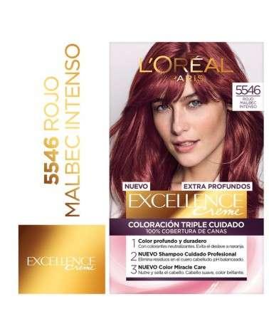 Tintura Permanente Excellence Creme De L'Oréal París 5546 Rojo Malbec Intenso X 47 Gr  - 1