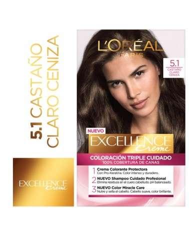 Tintura Permanente Excellence Creme De L'Oréal París 51 Castaño Claro Ceniza X 47 Gr  - 1