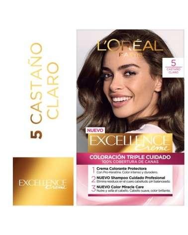 Tintura Permanente Excellence Creme De L'Oréal París 5 Castaño Claro X 47 Gr  - 1