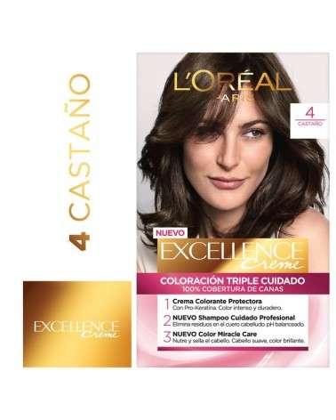 Tintura Permanente Excellence Creme De L'Oréal París 4 Castaño X 47 Gr  - 1