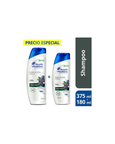 Kit Head & Shoulders Purificación Capilar Carbón Activado Shampoo 375 Ml + Shampoo 180 Ml Head & Shoulders - 1