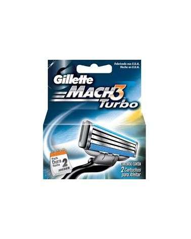 Cartuchos Para Afeitar Gillette Mach3 Turbo 2 Unidades Gillette - 1