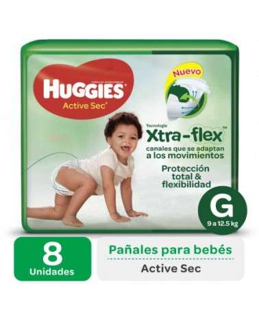 Pañales Huggies Active Sec G Regular X8 Huggies - 1