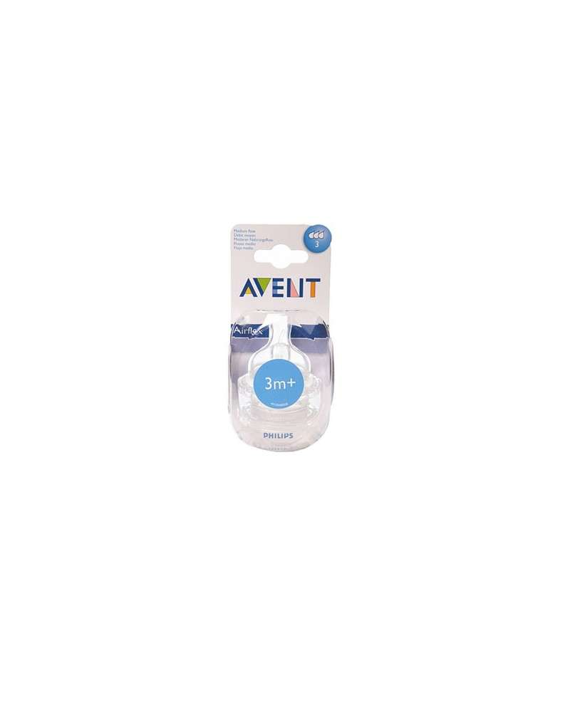 Avent Scf 633/27 Blister Tetinas Fluir Medio X2 3M+ 3 Orificios Avent - 1