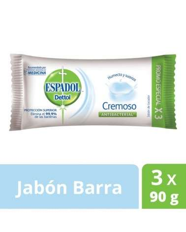 Jabón De Tocador Antibacterial Cremoso Espadol Dettol 90Grs X 3U Espadol Dettol - 1