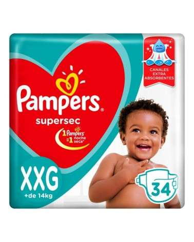 Pañales Pampers SuperSec XXG 34 Unidades Pampers - 1