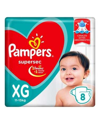 Pañales Pampers SuperSec XG 8 Unidades Pampers - 1