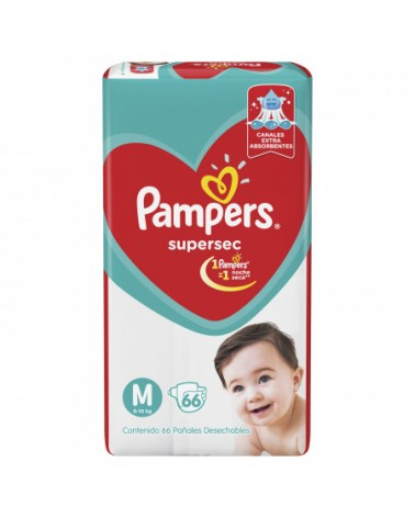 Pañales Pampers SuperSec M 66 Unidades Pampers - 1