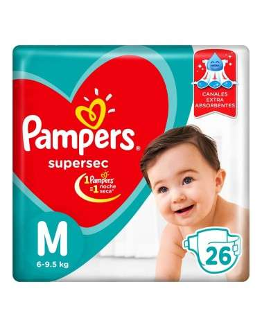 Pañales Pampers SuperSec M 26 Unidades Pampers - 1