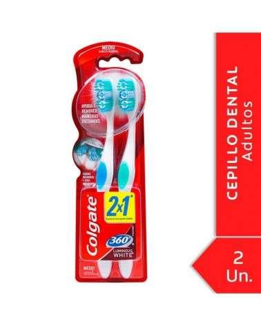 Cepillo Dental Colgate 360º Luminous White Medio 2unid Colgate - 1