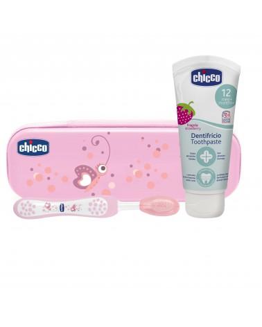 CHICCO - Set Higiene bucal (cartuchera que contiene cepillo y pasta dental) Nena Chicco - 1
